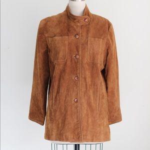 Vtg Camel Nubuck Leather Button Front Jkt Coat M